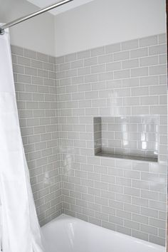 Modern Traditional Bath Gray Subway tiles. Shower niche. #desgin #interiors #interiordesign /homewithkeki/