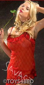 "Your Online Adult Shop - Cheap Adult Toys Brisbane - Toys4Bed :: Lingerie :: Chemises :: ""Savage"" Red/Black Chemise   $34.95"