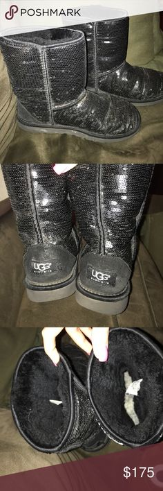 Authentic UGG Australia Sequin boots! Size 9 authentic UGG Australia sequin winter boots. Loved dearly but got a new pair. I pay $250 for these babies and would like them to go to a loving home. I bit of ware on it and a few sequins missing but can't even tell! QVC code inside to prove authentication. UGG Shoes Winter & Rain Boots