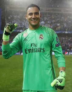 Keylor Navas of Real Madrid celebrates after the UEFA Champions...