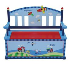 For the child who loves transportation of every kind the Levels of Discovery Getting Around Bench Seat with Storage provides convenient extra storage and seating in a fun package. Made from sturdy wood this convenient seat/toy box combination uses a slow-closing metal safety hinge to prevent pinched fingers. Hand painted in cheerful primary colors the back features a skyline design with airplanes while the base includes a vari