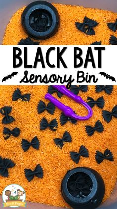 Halloween Black Bat Sensory Bin - Pre-K Pages - - Black bat sensory bin for Halloween. Perfect for a hands-on sensory play experience in your preschool or pre-k classroom! Halloween Activities For Kids, Toddler Learning Activities, Infant Activities, Halloween With Toddlers, Motor Activities, Sensory Activities For Preschoolers, Easy Halloween Crafts, Learning Games, Summer Activities