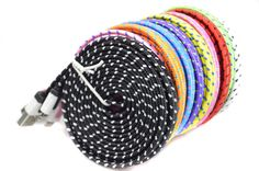 1M/2M/3M Colorful Braided 8pin USB Data Sync Charger Cable Micro USB Data Sync Charger Cable Cord Wire For iPhone 5 5s 6 6Plus