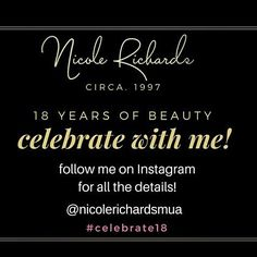 Guess what?? I get to #celebrate being #18 all over again!  Well kind of...You see In 1997 I walked out of #humbercollege after spending 2 years in the Cosmetic & Fashion Management program. I could finally call myself a #makeupartist! I was excited and freakin scared but its been such a blessed adventure!  As I celebrate 18 years of #lipstick and #lashes I want to #celebrate with you! Because really everyone wants a reason to enjoy themselves especially if #cake #balloons and makeup are…