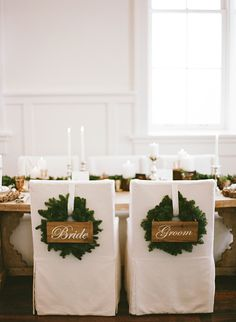 Holiday Wreath Bride and Groom Chair Decor | Jacque Lynn Photography and Michelle Leo Events | Enchanting Woodland Wedding Shoot with Rustic Winter Details