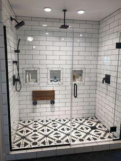 Bathroom and powder room decorating suggestions. #Bathroomlayout Douche Design, Modern Farmhouse Bathroom, Classic Bathroom, Farmhouse Decor, Farmhouse Ideas, Farmhouse Style, Urban Farmhouse, Industrial Bathroom, Farmhouse Kitchens