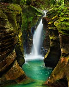 Corkscrew Falls hidden away in Hocking Hills State Park in Ohio, these epic falls are probably the prettiest in the whole park-- and since they're sort of secret, you don't have to worry about sharing the trail.