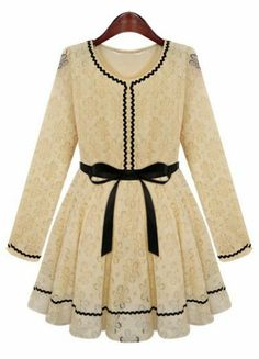 Apricot Long Sleeve Contrast Trims Belt Lace Dress, ahh i want this...reminds me of A Little Princess