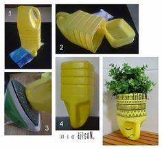 Resultado de imagen para botellas de detergente convertidas en macetas
