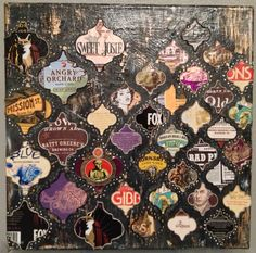 Upcycled Beer Label Moroccan art piece  by spaceyme on Etsy, $35.00