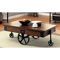 Furniture Of America Carpenter Rustic Weathered Oak Caster Wheel Coffee  (Brown) Table (Medium Weathered Oak)