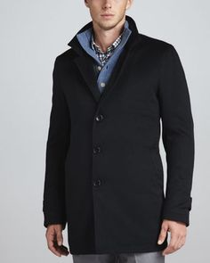 Button-Front Coat, Navy Solferino by Neiman Marcus at Neiman Marcus.