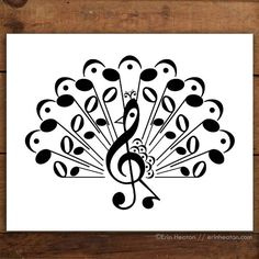 This pretty peacock is created entirely with music notes and symbols. Archival quality fine art print is printed in deep black on bright white, acid-free, 100% cotton rag 64lb fine art paper, and is a