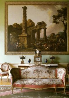 The Music Room of Harewood House (18th century), designed by Robert Adam, with pictures by Antonio Zucchi depicting great Roman ruins. The furnishing were supplied by Thomas Chippendale.  Photograph: Paul Barker