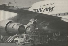 1981 A Pan Am 747SP being fueled.