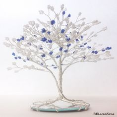 Custom Beaded Wire Tree Sculpture - Tree Wedding Cake Topper by RELcreations on Etsy https://www.etsy.com/listing/211557339/custom-beaded-wire-tree-sculpture-tree