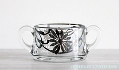 Vintage Heisey Silver Overlay Glass Sugar Bowl available at Ophélie Languish.    art deco, art nouveau, glass, silver overlay, 1930s, creamer, set, vintage, floral, silver, tea, home, living, kitchen, serving