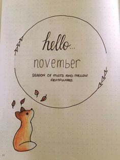 November title page by Hannah Barham from the bujo group on fb