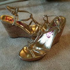Metallic Wedge sandals Goddess like wedge sandals with gold flecked cork heel. Worn only a couple of times so in good condition. Rubber sole to help with grip. Kensie Shoes Sandals