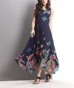 Navy Floral Paisley Handkerchief Maxi Dress #zulily #zulilyfinds