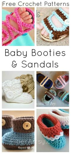 Baby Shoe Booty and Sandal Free Crochet Patterns. Super cute free baby patterns from  FiberArtsy.com