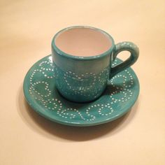 Green Coffee Cups, Ceramic Coffee Cups, Decoration Piece, Hand Painted Ceramics, Love And Light, Tea Cups, Rustic, Dishes, Traditional