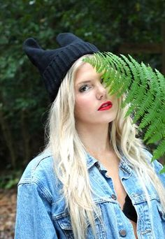 cat ears knitted beanie hat