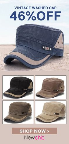 2120a40d9a4 Men Vintage Military Army Plain Flat Cap Washed Peaked Hat