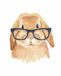 Lop Eared Rabbit Watercolor - 5x7 Print, Hipster Glasses, Nursery Art