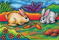 Cat Drawing For Kid, Nature Drawing For Kids, Drawing Classes For Kids, Easy Scenery Drawing, Rabbit Drawing, Easy Drawings For Kids, Oil Pastel Art, Oil Pastel Drawings, Colorful Drawings
