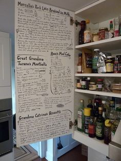 recipes on inside of kitchen cabinets