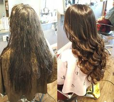 Root touch for straight perm. Amazing~