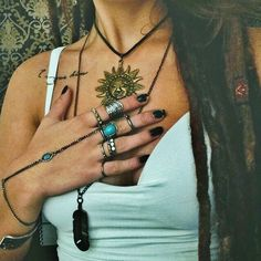 beautiful vintage bohemian turquoise silver and gold jewelry hippie style with collarbone quote tattoo