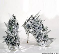 Svenja Ritter's futuristic silver polystyrene and glass beads high heels