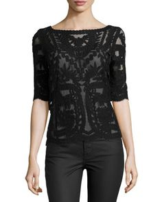 Mesh & Lace Boat-Neck Top, Black by Laundry by Shelli Segal at Neiman Marcus Last Call.