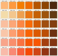 pantone colors in orange