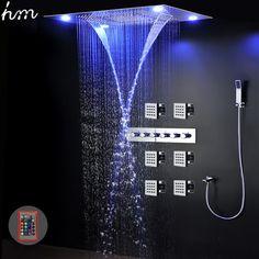 Fantastisch Luxus Dusche Set System Elektrische LED Deckeneinbau Große Regen Duschkopf  Wasserfall Thermostat Wasserhahn Massage Dusche Panel