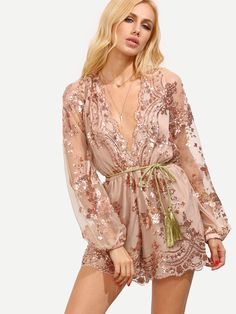4056ca0d21e6 Champagne Deep V Neck Sequined Romper With Belt