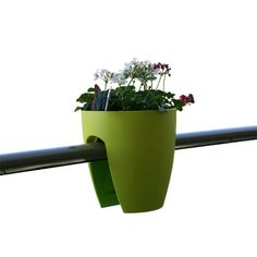 I want to put these on tension rods in my deep windows!   city gardening - hang this pot on your balcony railing
