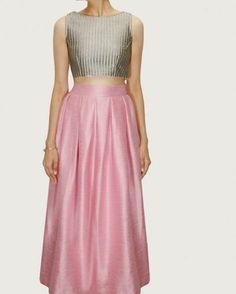 """""""Crop tops and high waist skirts are so in this season and they are here to stay! A gorgeous silver grey crop top with a pink silk long skirt! Latest Designer Sarees, Designer Dresses, Ethnic Fashion, Indian Fashion, Women's Fashion, Salwar Kameez, Anarkali, Lehenga, Grey Crop Top"""