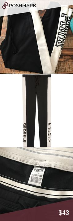 VS Pink straight leg striped sweatpant large black Victoria's Secret Pink Straight Leg Pant. Brand New With Tag. Color Black/Off White. Size Large. Inseam 30 Inches PINK Victoria's Secret Pants Straight Leg