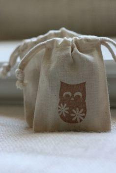Owl Vintage Muslin Bag