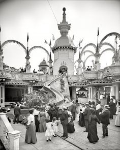 "New York circa 1905. ""The Helter Skelter, Luna Park, Coney Island."""