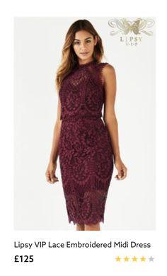 e45c4f135d Lipsy VIP Lace Embroidered Midi Dress Occasion Wine Burgundy UK 10 BNWT RRP  125  fashion