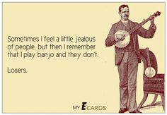 When I play my banjo haha Music Memes, Music Humor, Banjo Tabs, Americana Music, Music Machine, Bluegrass Music, Cigar Box Guitar, Stuff And Thangs, Funny Cartoons