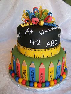 grade school teacher cake, pencils, ruler, chalkboard, math. I love this but would prefer it in pastel colours.