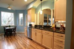 Traditional Kitchen Remodel in Hampton, Virginia by Criner Remodeling. Granite Counter Top. Blue Painted Walls.