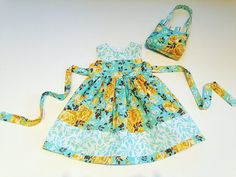 18 month dress blue & yellow floral dress and by LizzyBethBaby