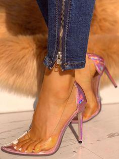Transparente Damen Pumps High Heels Damenschuh Absatzschuh schwarz orange 36-41