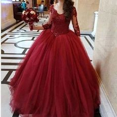 Plus Size Burgundy Tulle Appliques Prom Dresses, Formal Quinceanera Dresses H3944 by Fashiondressy, $166.50 USD Burgundy Quinceanera Dresses, Pretty Quinceanera Dresses, Best Prom Dresses, Prom Dresses Long With Sleeves, Simple Dresses, Floral Dresses, Evening Party Gowns, Quince Dresses, Burgundy Dress